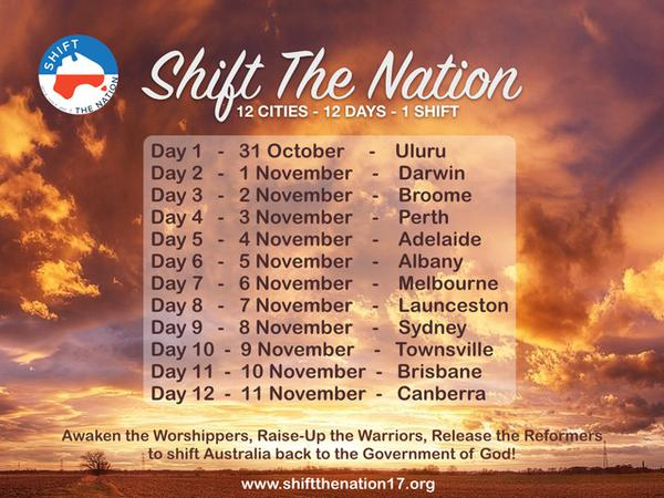 Schedule for Shift The Nation 2017 in Australia from October 31st to November 11th